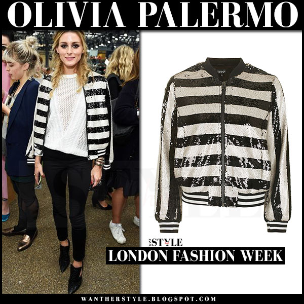 Olivia Palermo in stripe sequin black and white topshop bomber jacket and black skinny jeans front row london fashion week september 18