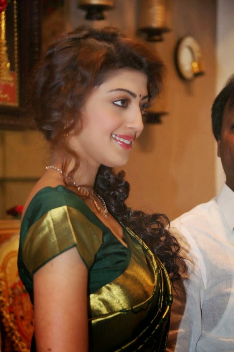 Pranitha Subhash Photos In Green Pattu Saree Hot