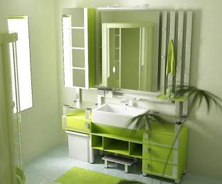 Baño decorado en verde