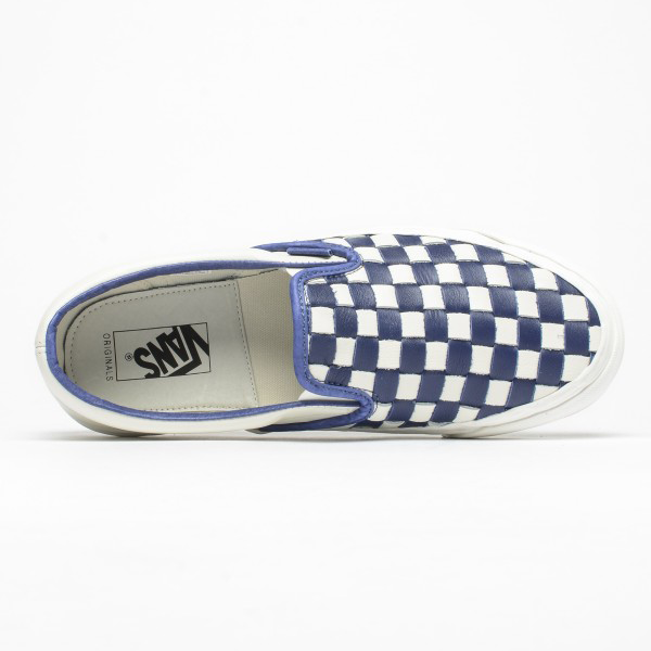 c13fd9fdbd1a63 Vans Vault OG Classic Slip-On LX (Woven Leather) 50th Checkerboard Patriot  Blue. VN000UDFIM0