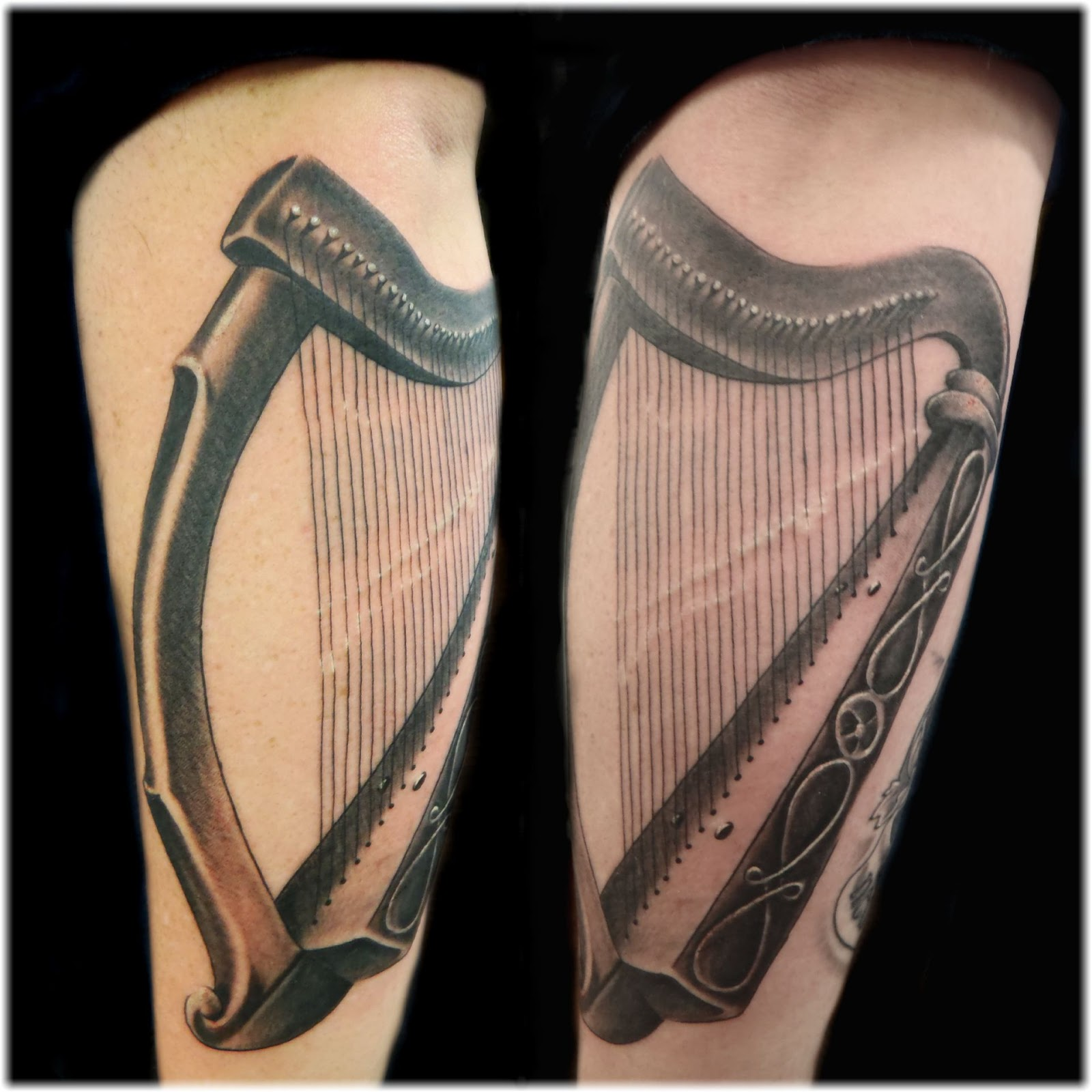 12 Cool Harp Tattoo Designs
