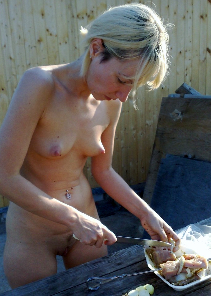 Blonde Topless Perky Tits Exposed Public Nude Labia Lips Pussy