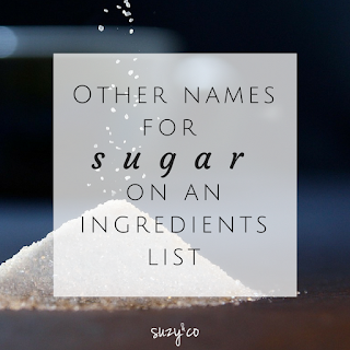 Other names for sugar on an ingredients list