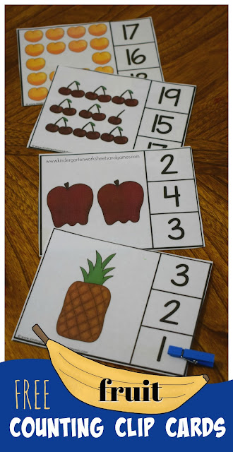 FREE Count to 20 Fruit Clip Cards (kindergarten math)