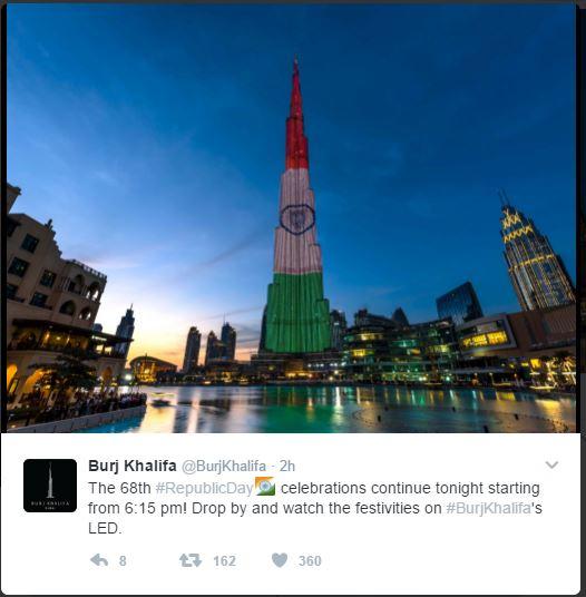 Uae National Day Gifts Burj Khalifa: Up-To-date: Burj Khalifa On 68th Indian Republic Day