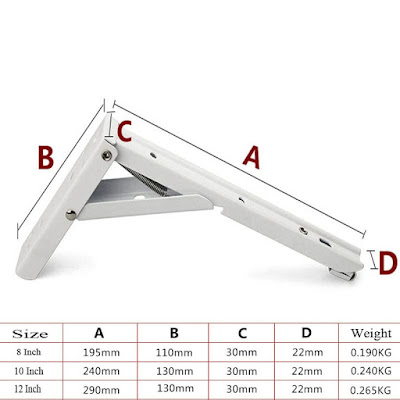 Size of the angled bracket