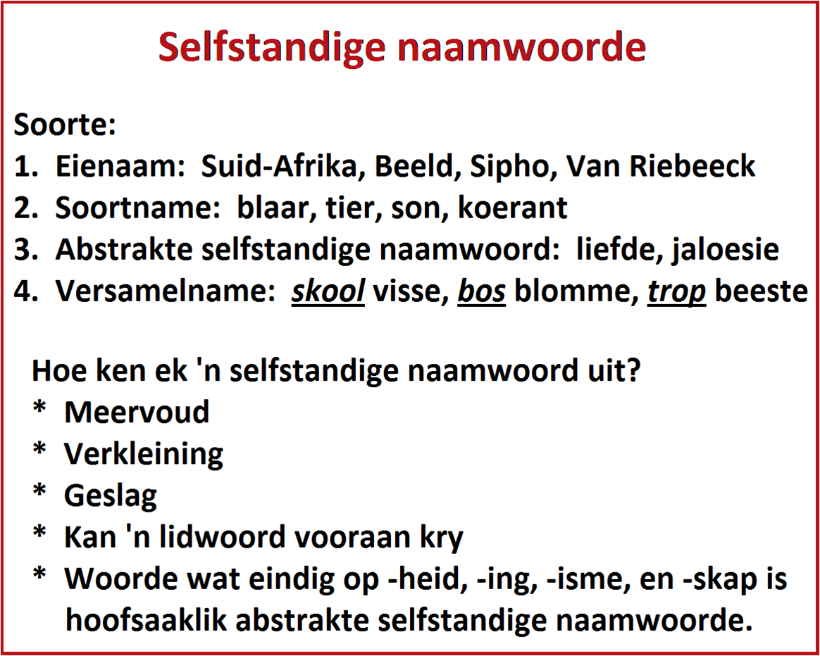 Copy Of Selfstandige Naamwoorde