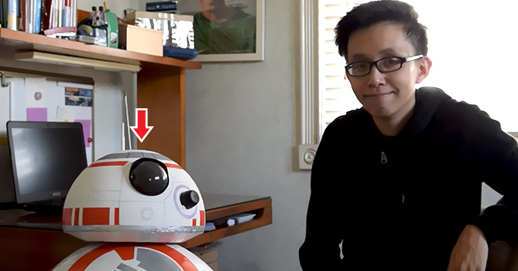 Angelo Casimiro with his famous creation, BB-8