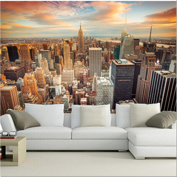 New York Tapetti valokuvatapetti, new yorkin Manhattanille näkymä yleiskatsaus pilvenpiirtäjiä 3d Fund tapetti