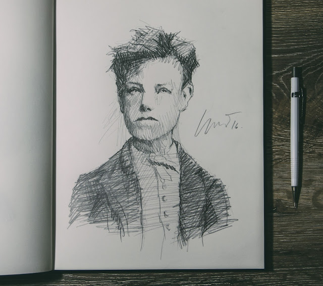 drae, desenho, portrait, retrato, arthur rimbaud,susano correia ,notasvisuais