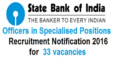 SBI Specialist Officers recruitment 2016