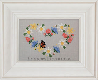 wildflower heart shaped wreath floral cross stitch pattern