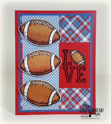 Our Daily Bread Designs Stamp/Die Duos: Football, Paper Collection: Old Glory, Custom Dies: Double Stitched Rectangles