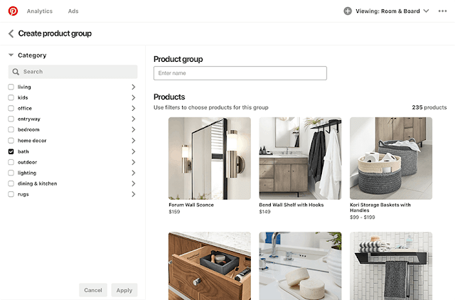 Product groups on Pinterest