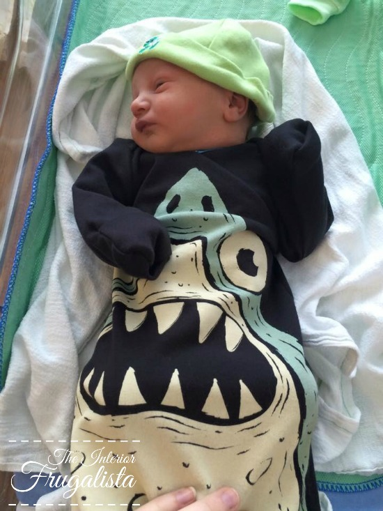 Our new grandson with his Sharkie outfit!