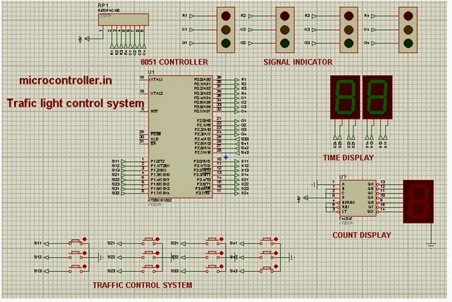 microcontrollerin     TRAFFIC       LIGHT       signal    and MICROCONTROLLER for auto change