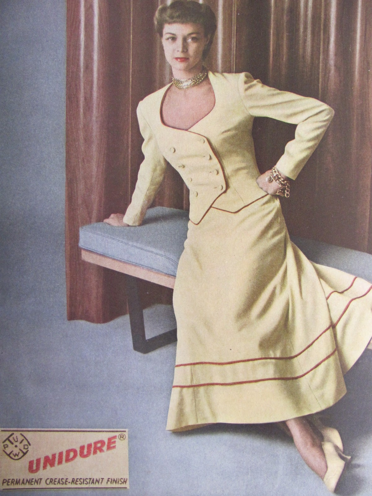 Pintucks: 1940s Fashions: American Fabrics magazine from 1949