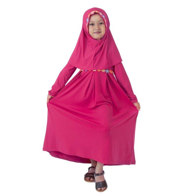 gamis anak simple warna pink