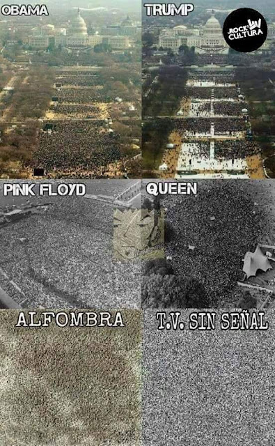 Obama, Trump, Pink Floyd, Queen, alfombra, tv sin señal