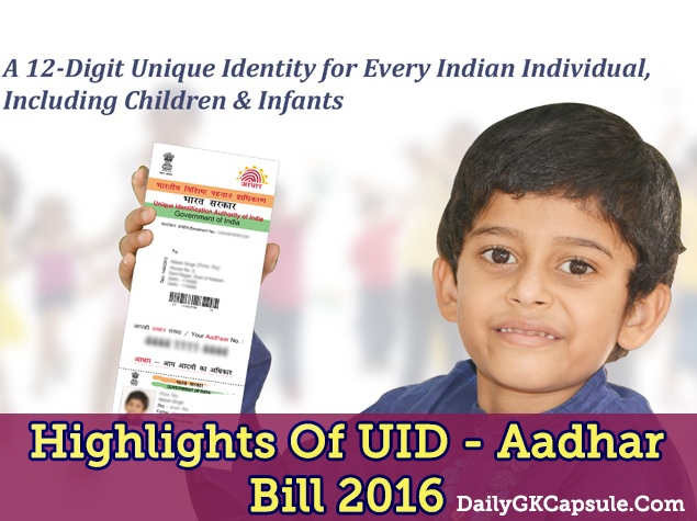Important Highlights Of UID - Aadhar Bill 2016 Pdf