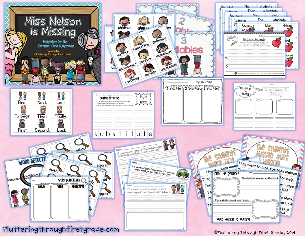 http://www.teacherspayteachers.com/Product/Miss-Nelson-is-Missing-Booktivities-for-the-Common-Core-Classroom-1083087