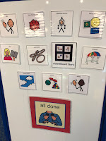Visual schedule with pictures of activities in story time
