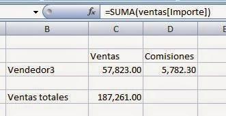 suma de columna con referencia estructurada