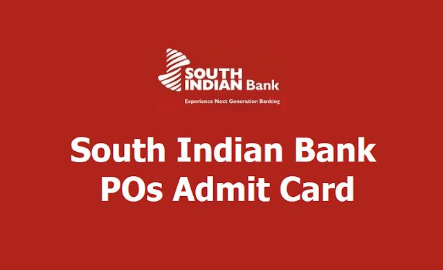 South Indian Bank POs Admit Card