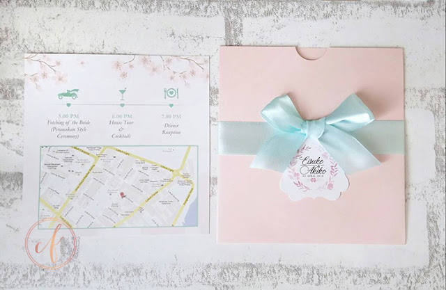 Pastel Mint & Pink Pocket Wedding Cards Malaysia