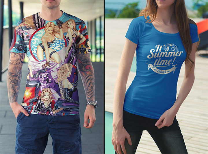 Male & Female T-Shirt Mockup PSD