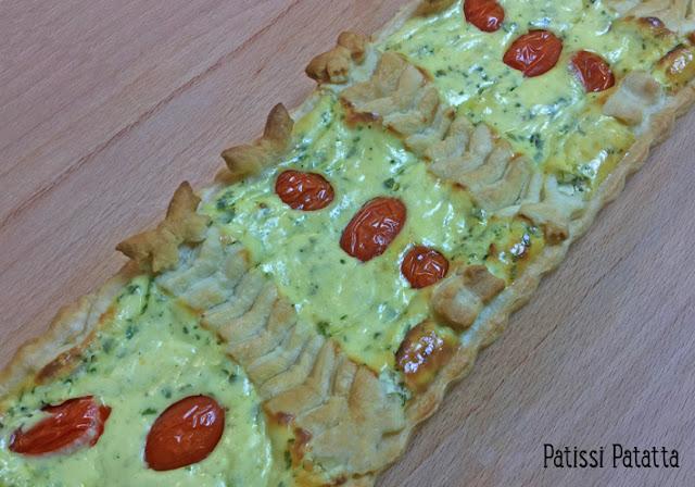 tarte à la ricotta, tarte décorée, tarte végétarienne, décorer une tarte, tarte rectangulaire, ricotta et tomates cerises