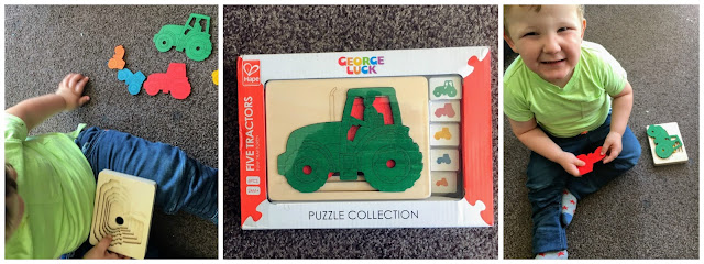 Children's five tractors jigsaw puzzle toy from Hape