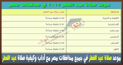 موعد صلاة عيد الفطر 2017 في جميع محافظات مصر مع موعد استطلاع هلال شوال 1438