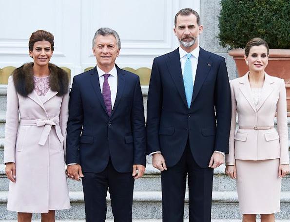 King Felipe, Queen Letizia of Spain, Argentina's President Mauricio Macri and wife Juliana Awada attended an official lunch at Palacio de la Zarzuela
