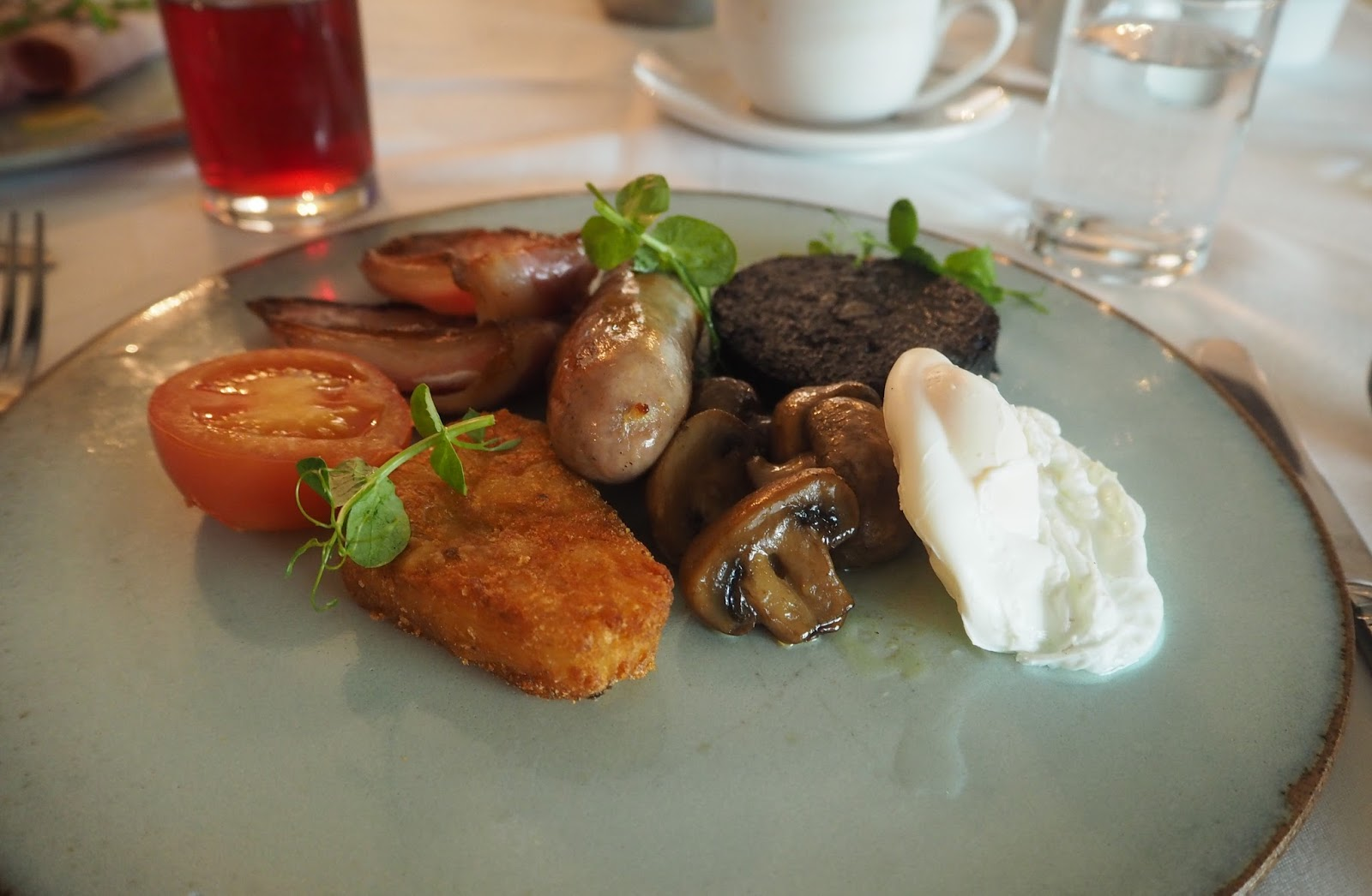 Yorkshire breakfast, The Courtyard Restaurant, Ox Pasture Hall Country Hotel, Scarborough, Yorkshire, romantic hotel near beach in Scarborough