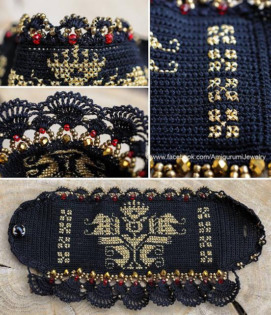 bransoleta szydełkiem ze wzorem haftu