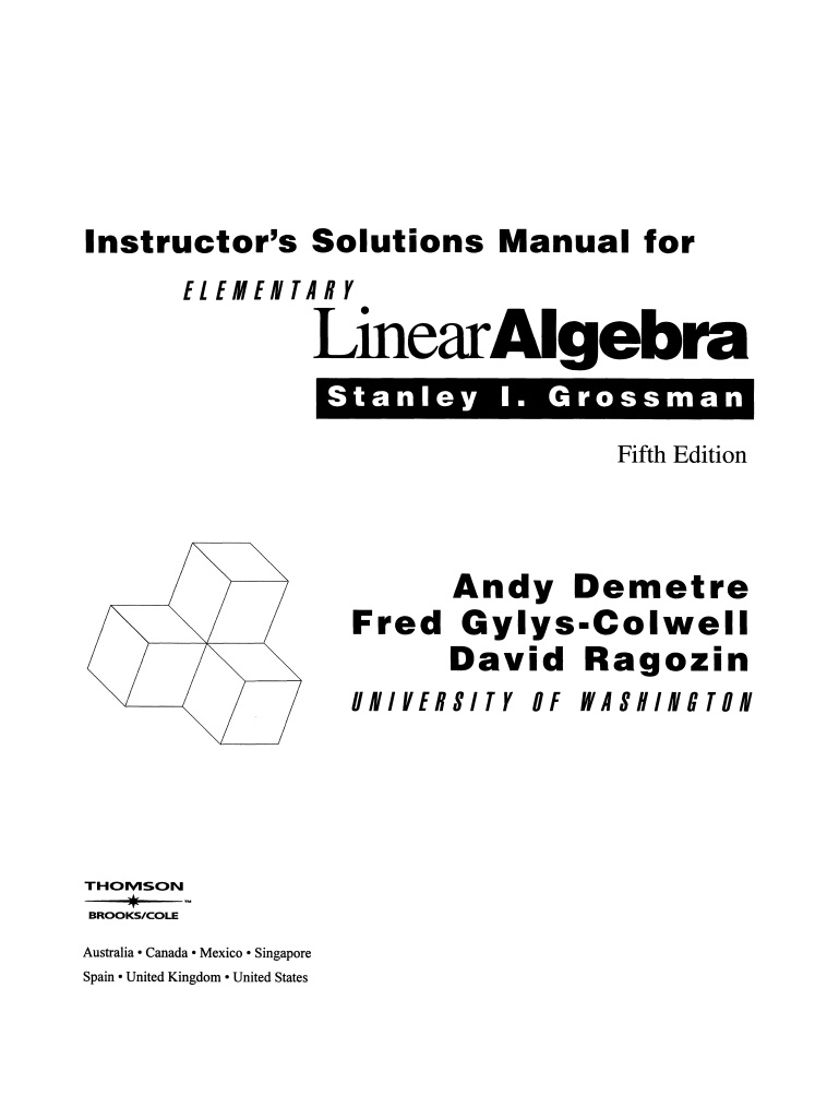 Book Download: Instructor's Manual for Elementary Linear