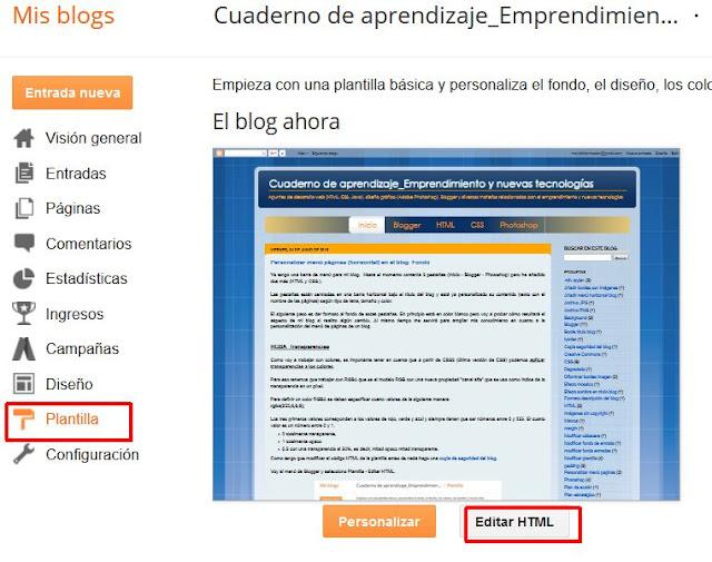 Editando plantilla en Blogger