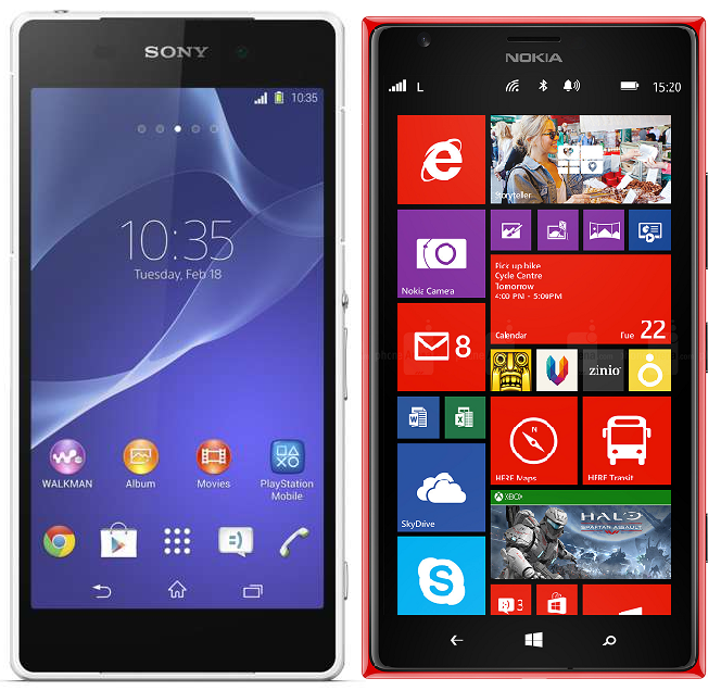 Comparison of Sony Xperia Z2 vs. Nokia Lumia 1520 Specs & Features
