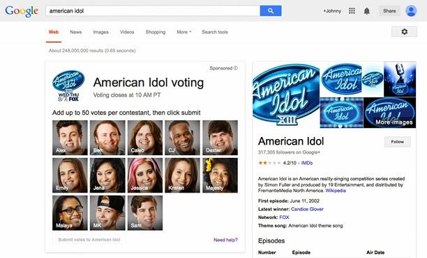 American Idol Season 13 Google Voting Screen