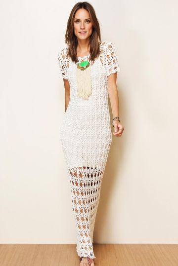 vestido longo branco croche farm