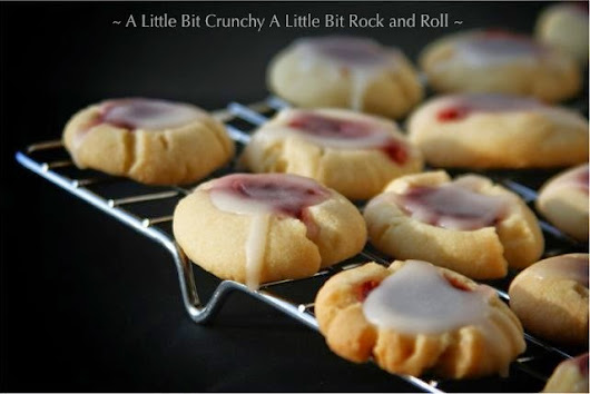 A Little Bit Crunchy A Little Bit Rock and Roll: Raspberry Almond Glazed Shortbread Rounds