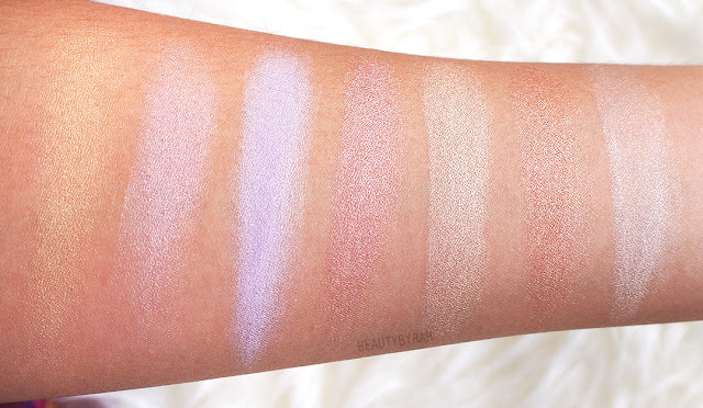 Nyx strobe of genius illuminating palette arm swatches