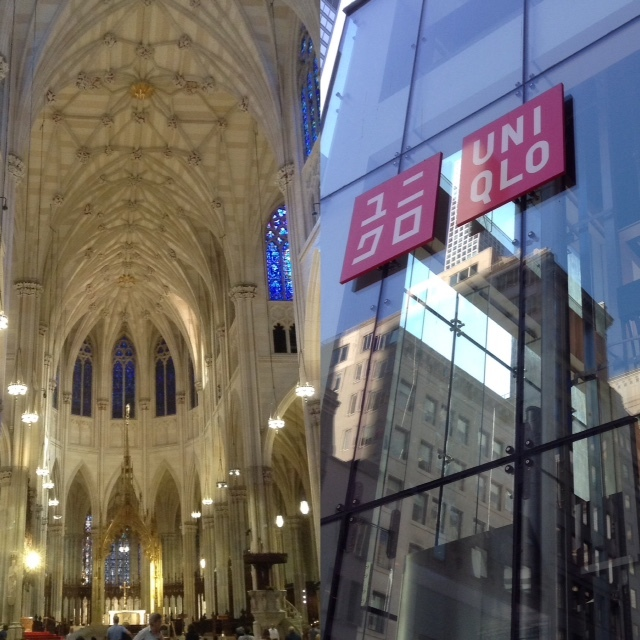 Saint Patrick's Cathedral and fast fashion retailer Uniqlo, both on Fifth Avenue, New York City