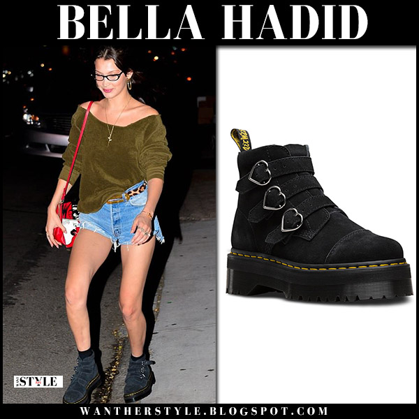 Bella Hadid in black suede platform buckle boots dr. martens model style may 21