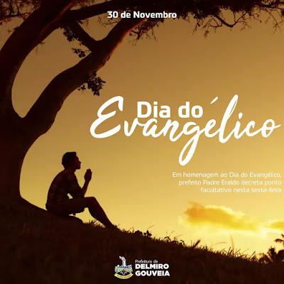 Em virtude do Dia do Evangélico, prefeito Padre Eraldo decreta ponto facultativo nesta sexta-feira (30)