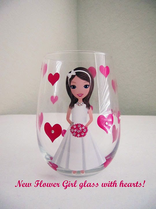 hand painted flower girl glass