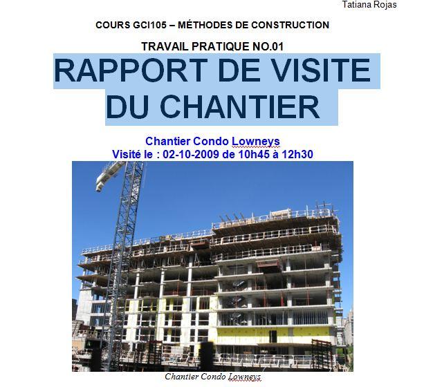 Rapport De Visite De Chantier Cours Génie Civil Outils