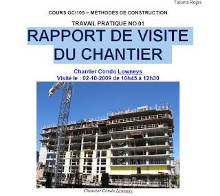 Rapport de visite de chantier cours g nie civil outils for Cours construction batiment pdf