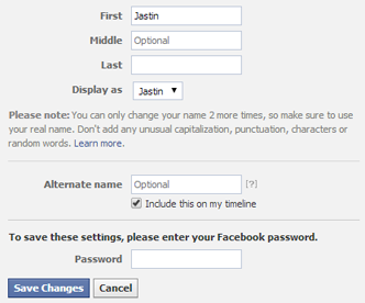 Change Name in FB Settings